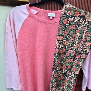 Lularoe outfit xl randy new os floral leggings